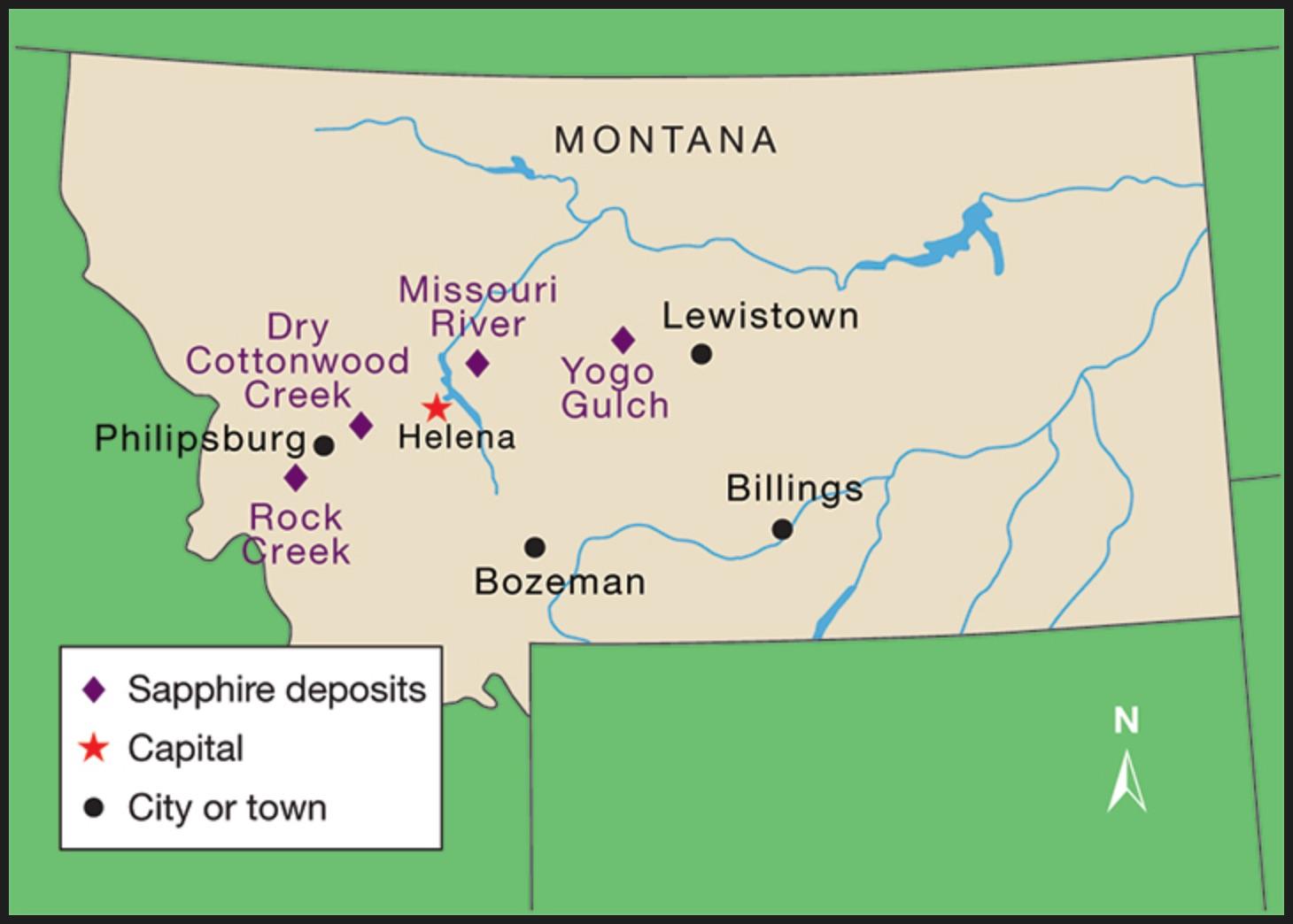 Map of Montana mining operations